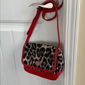 Coach Ocelot Turn Lock Canvas Red bag
